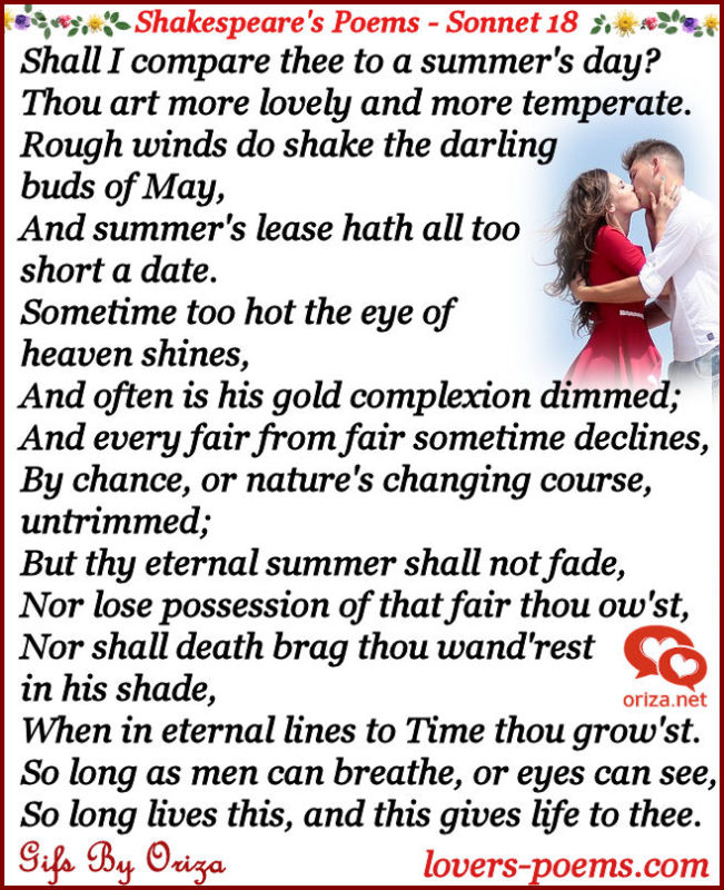 shall i compare thee to a summers day essay Shall i compare thee to a summer's day, is a poem written by william shakespeare the speaker starts off the poem with a question that directly addresses to his beloved one: shall i compare thee to a summer's day.